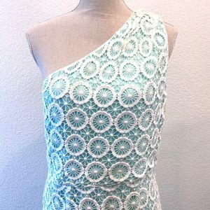 VINCE CAMUTO WHITE CROCHET ONE SHOULDER DRESS